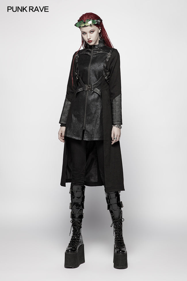 Punk Women Standing Collar Warrior High Low Long Coat