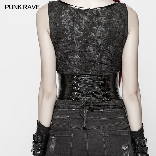 PUNK Tight-fitting Bright Patent PU Lace-up Girdle