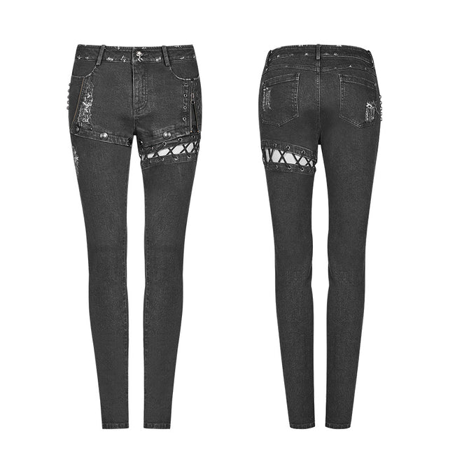 Punk Denim Trousers Water-washed Long Jeans