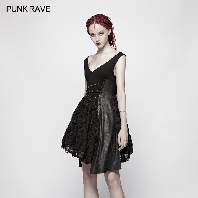 Punk Stretch Knitting Deep V Asymmetrical Dress