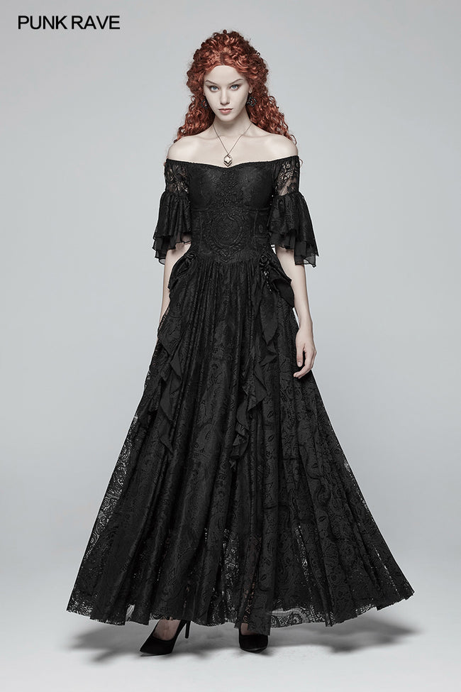 Gorgeous Off Shoulder Victorian Lace Long Dress