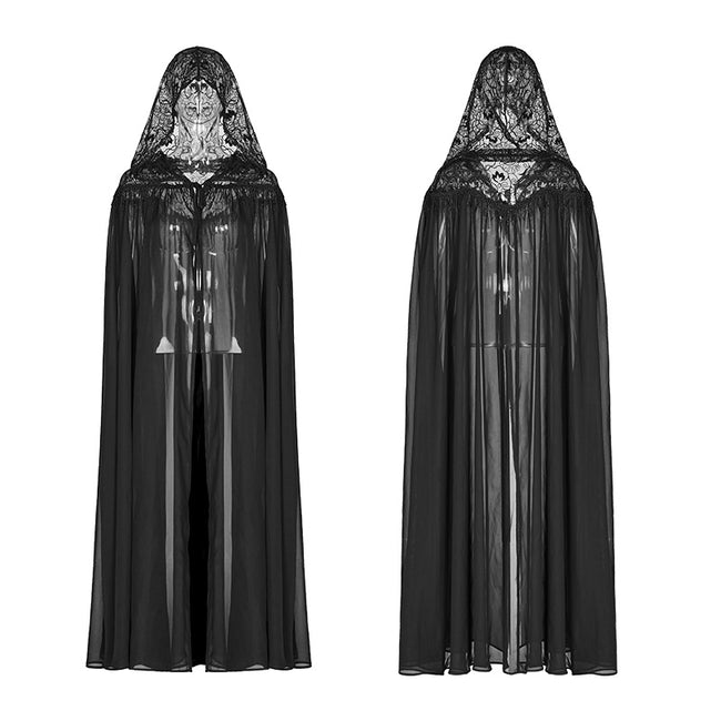 Gothic Hooded Chiffon Cape Long Coat