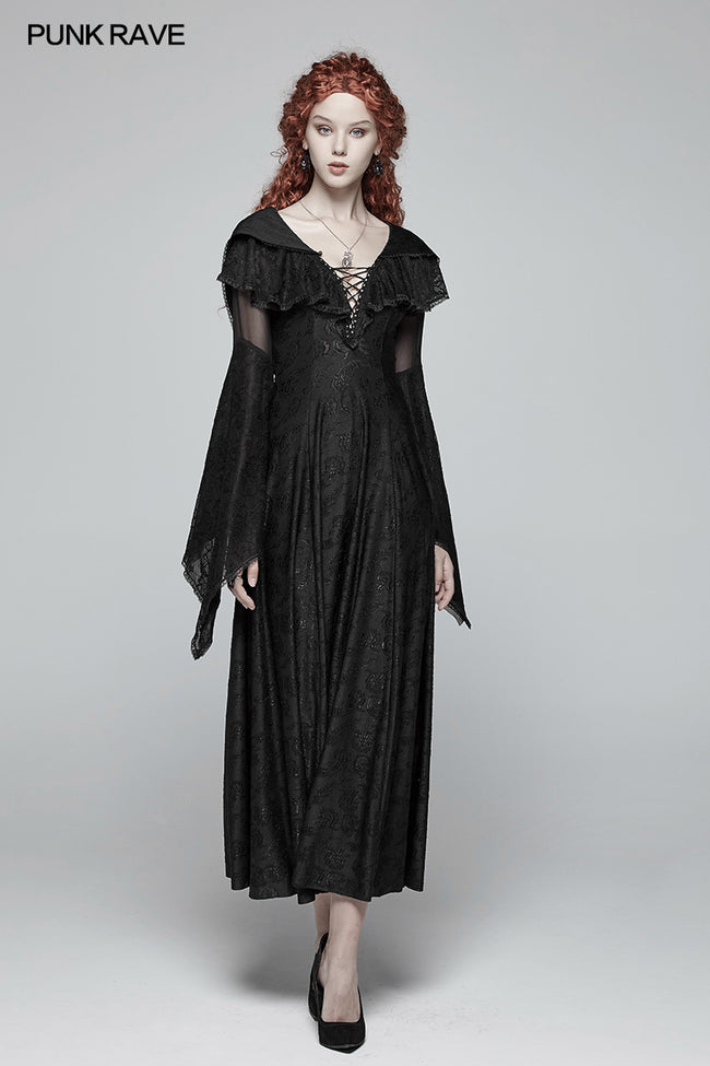 Sexy Goth Lace-up V Neck Long Sleeves Long Dress