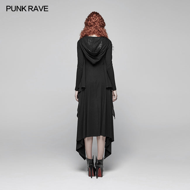 Gothic Bat Wing Hooded Long Sleeves Asymmetrical Dress