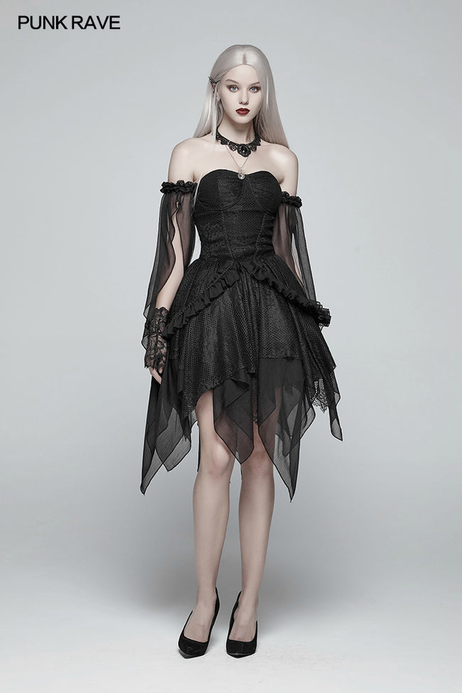 Lolita Black Off Shoulder Irregular Hem Elf Dress
