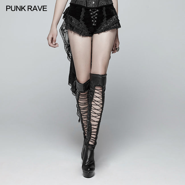 Gothic Swallow Tail Dress Shorts With Lace Pleat Streamers