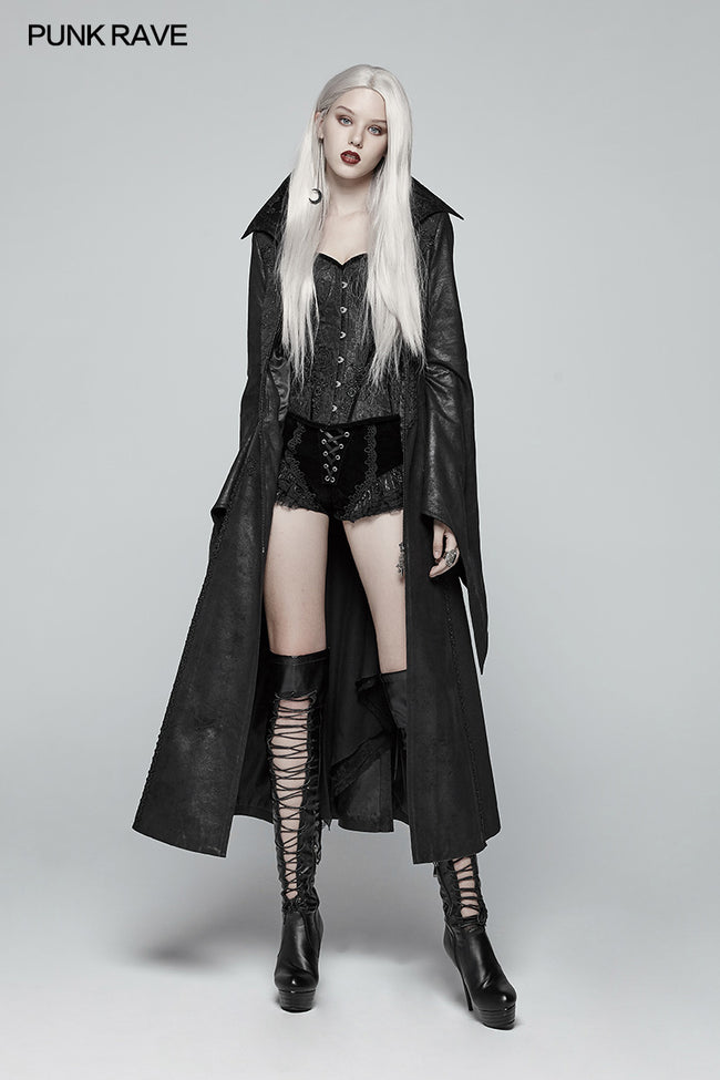 Gothic Judge Standing Collar PU Long Coat