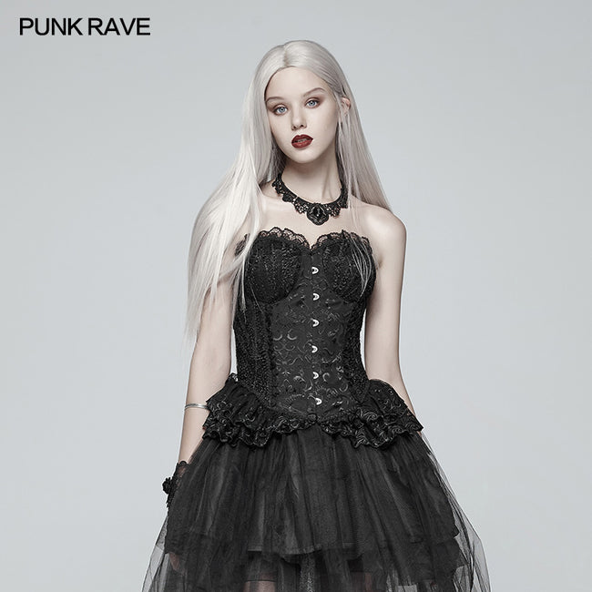 Lolita Black Elf Lace Corset With Lace-up Back