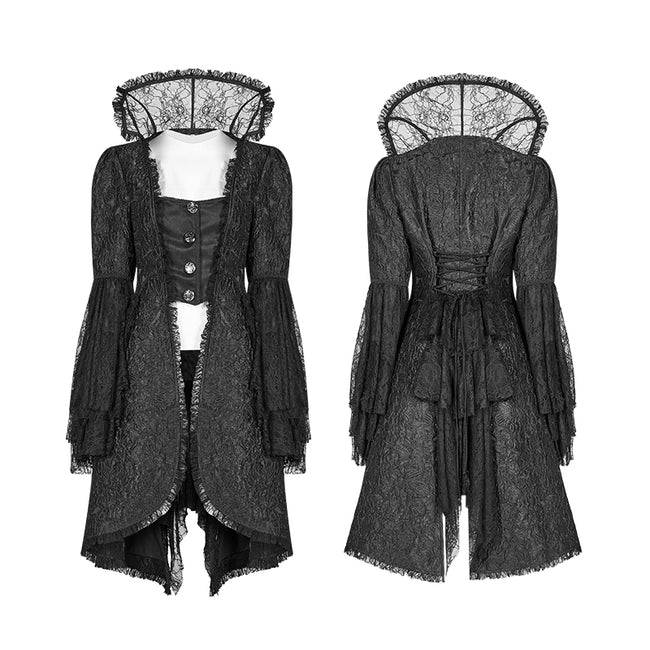 Gothic Translucent Standing Collar Lace Dress Coat
