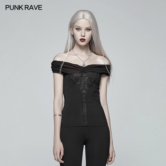 Gothic Off-shoulder Short T-shirt