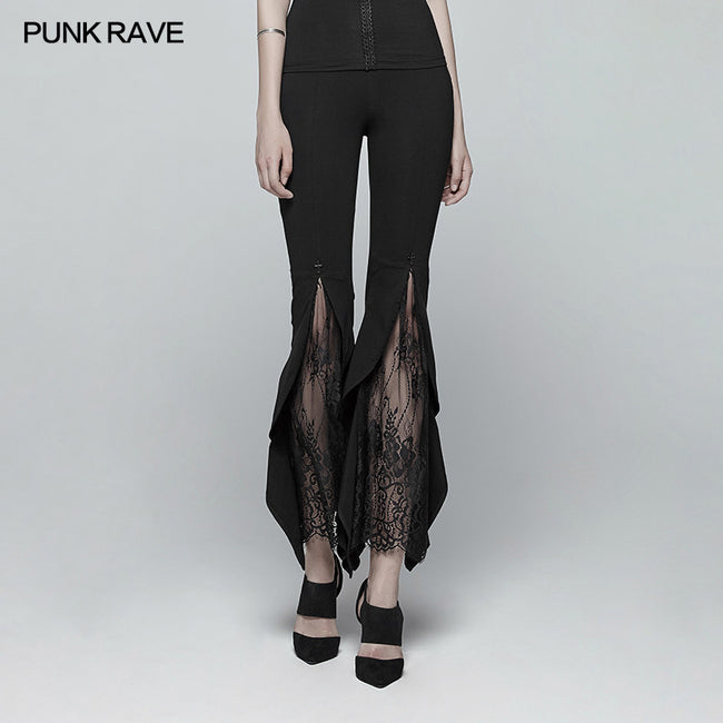 Gothic Flared Lace Leggings For Women With Cross Decoration