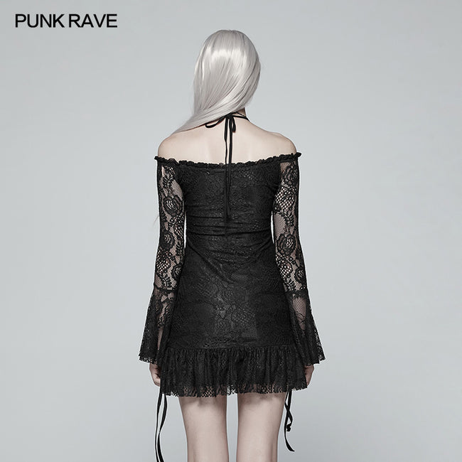 Gothic Off Shoulder Halter Neck Horn Sleeves Lace Mini Shirt