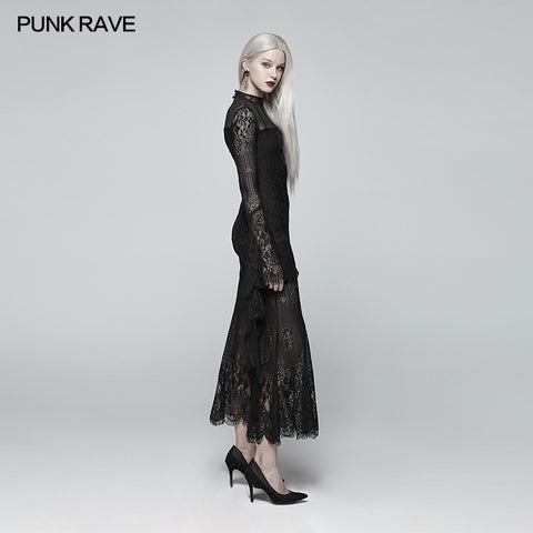 Gothic Daily Wear Long Sleeves Lace Dress