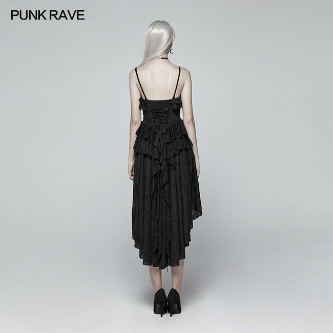 Gothic Strapless High Low Dress With Detachable Shoulder Strap