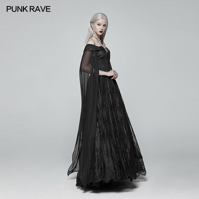 Retro And Elegant Dark Gothic Off Shoulder Victoria Long Lace Dress