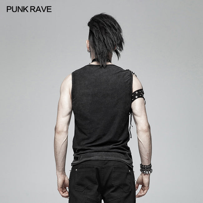 PUNK Simple Vest For Men With Detachable Right Shoulder Tab
