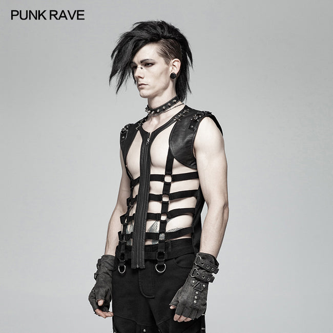 Men Punk Personality Skeleton PU Vest