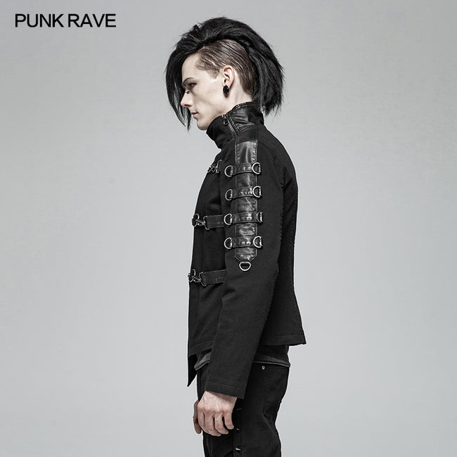 Men Punk Non-stretchy Asymmetric Short Coat