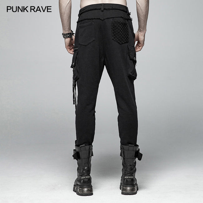 Punk Dark Knit Trousers Carrot  Pants With Three-dimensional Pockets Decoration