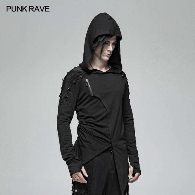 Dark Punk Hooded Thin Asymmetry Sweatshirt For Men