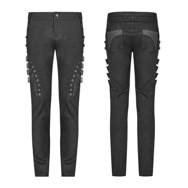 Men Punk Water-washed Elastic Trousers