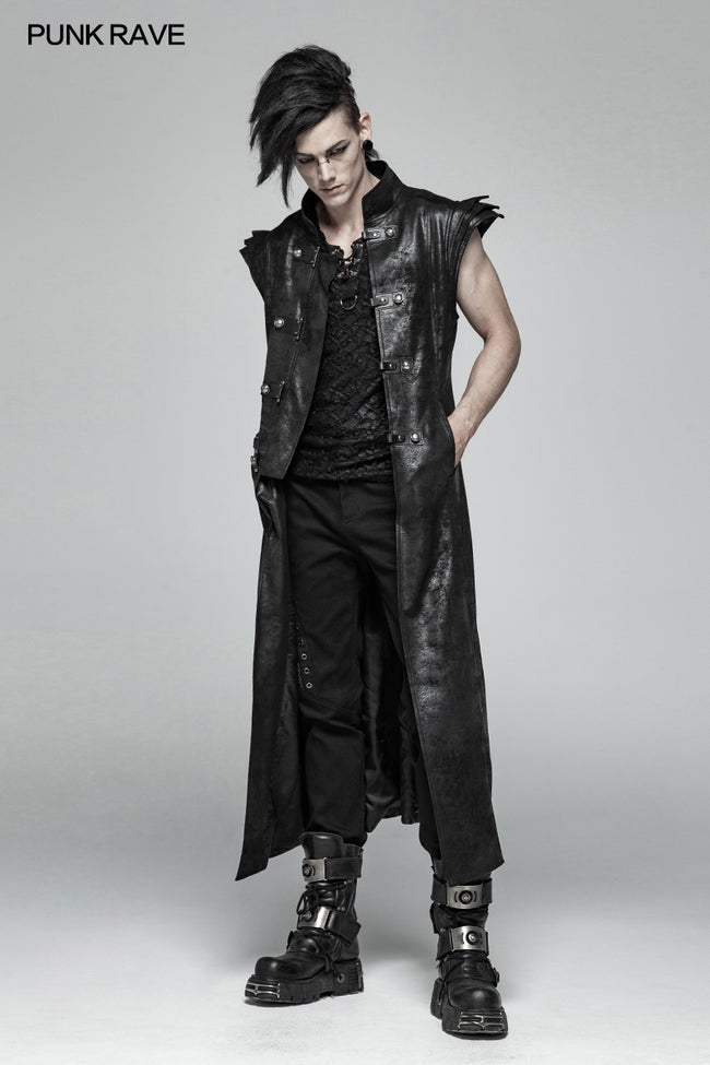 Punk Armor Long Vest Coat With  PU Leather Buckle