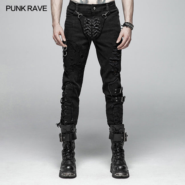 Men Punk Vintage Trousers With Detachable Personality Cover