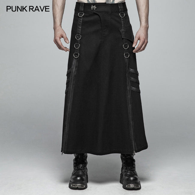 Mens Punk Long Half Skirt