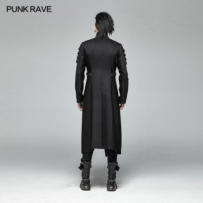 Men Dark Punk Armor Jacket Long Handsome Coat