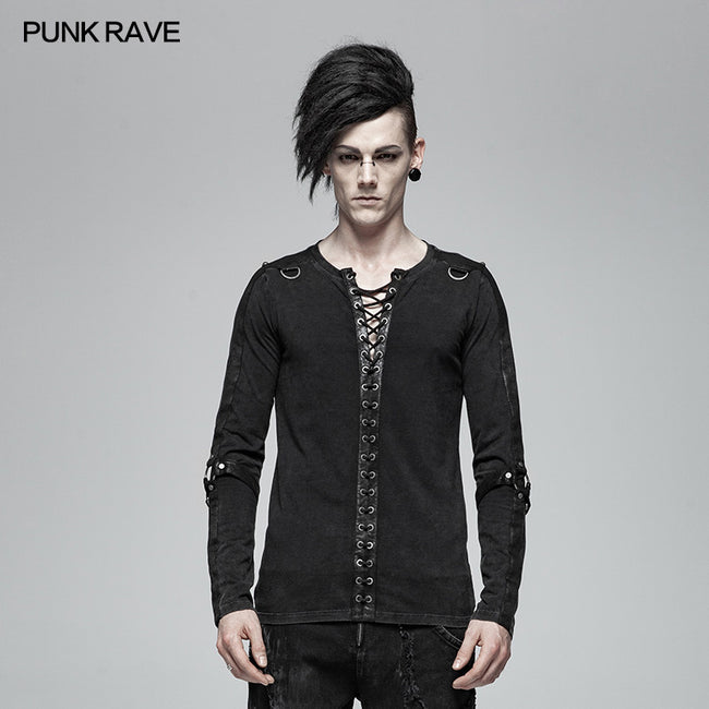 Steampunk Lace-up Neckline Long Sleeve T Shirt