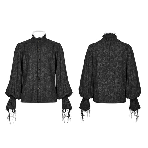 Men Decadent Gothic Printed Long Sleeve Shirt