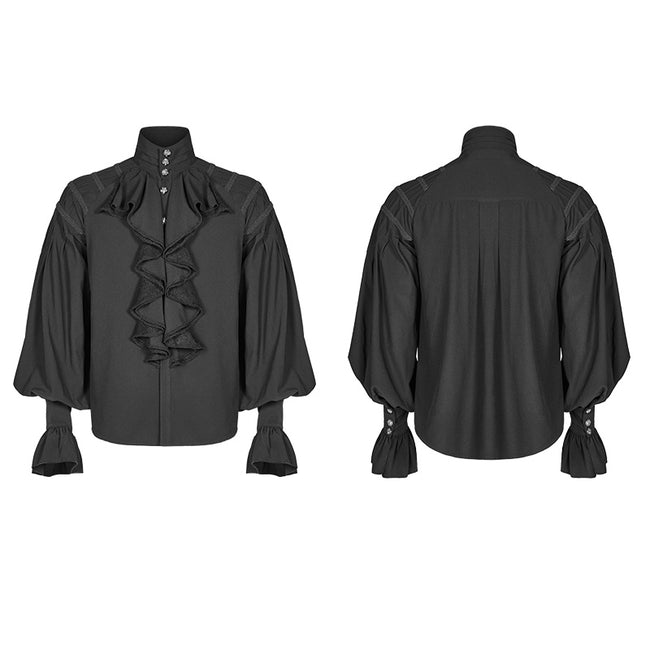 Men Dark Victorian Standing Collar Loose Ruffle Long Sleeve Shirt