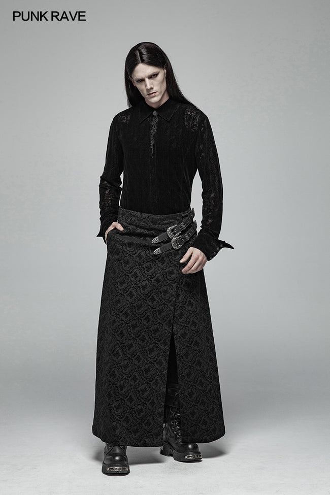 Gothic Vintage Personality Split Long Skirts For Men