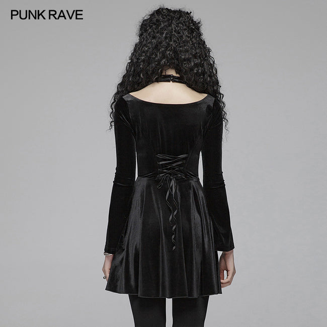 Gothic Daily Cross Halter-Neck Long Sleeve Velvet Short Dress For Women
