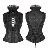 Sexy Deep V Collar Vest Lolita Women Lace High Standing Collar Waistcoat