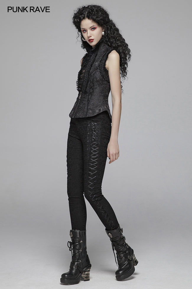 Gothic Women Jacquard  Long Trousers With Cross Sides