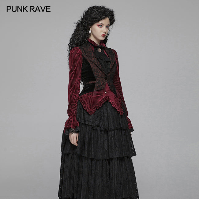 Gothic Red And Black Tuxedo Vest V-neck Tailcoat For Women