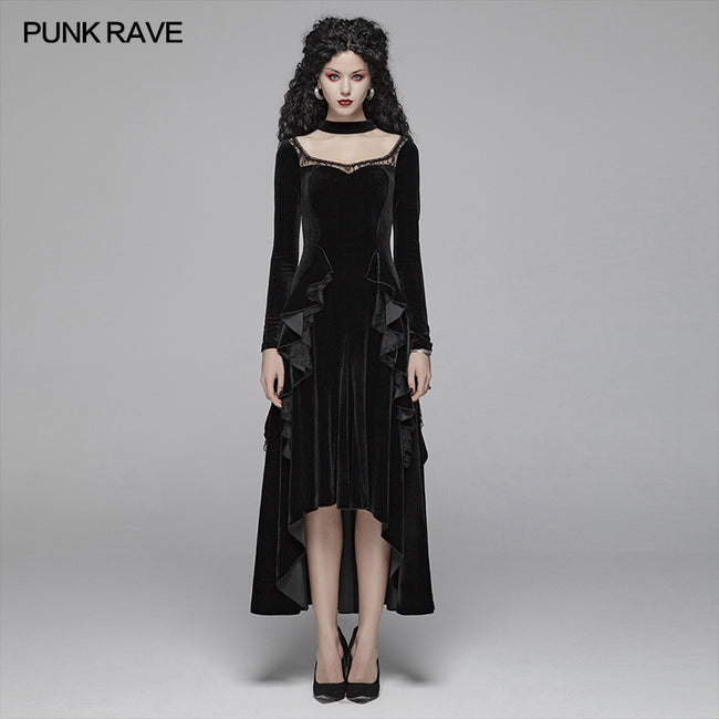 Gothic Daily Women Long Sleeve Velvet High-low Long Dress With Lace