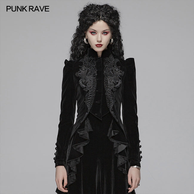 Gothic Weft Long Sleeve Standing Collar Velvet Short Coat For Women