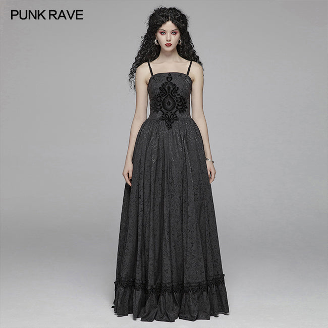 Gothic Women Tube Jacquard Long Skirt Lace-up Ball Gown Dress