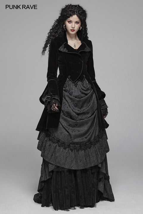 Women Gothic Lolita Long Sleeve Medium Long Velvet Coat
