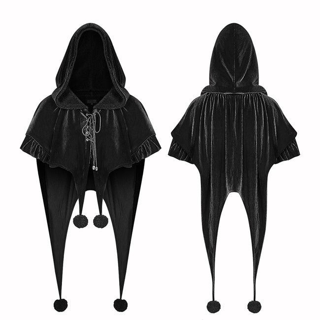 Lolita Velvet Short Hooded Loose Cloak With Cute Wooly Balls