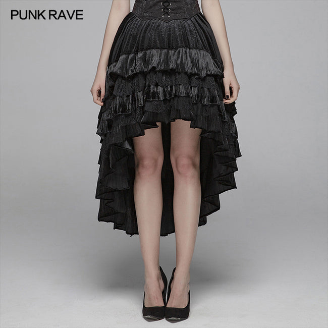 Gothic Dark Grain Velvet Irregular Half Skirt For Women