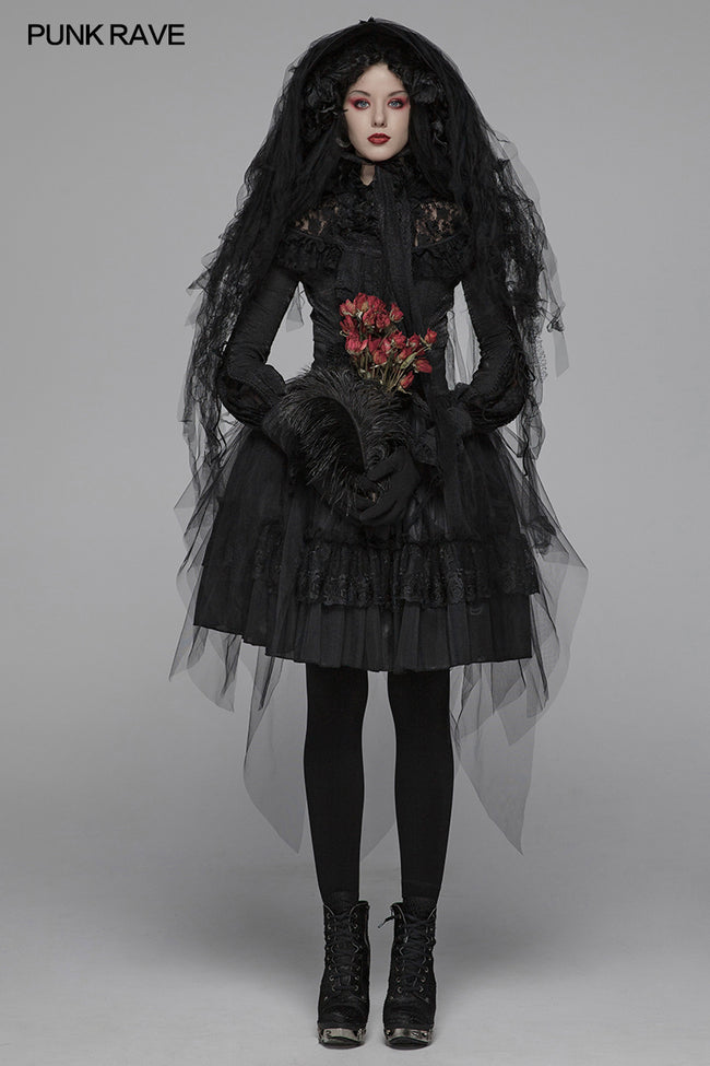 Lolita Dark Hat Long Irregular Tulle And Lace Headwear With Three-dimensional Flower Decoration