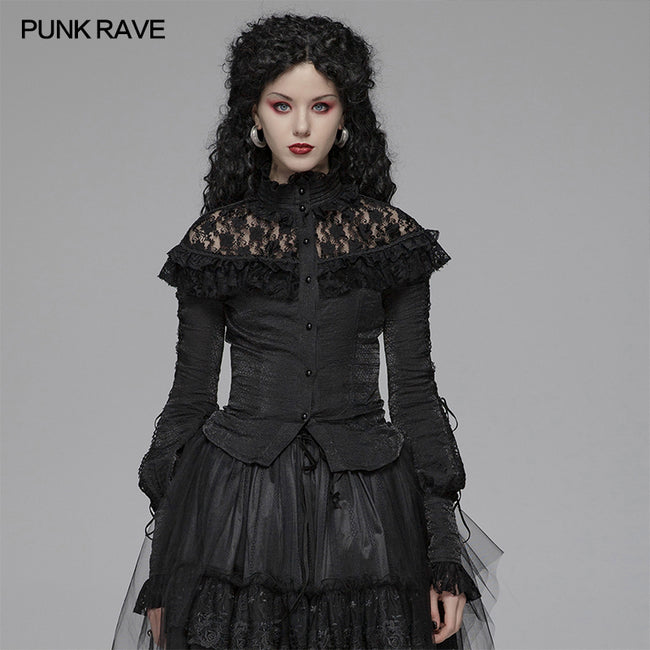 Lolita Long Sleeve Shirt Translucent Lace Shoulder T-shirt