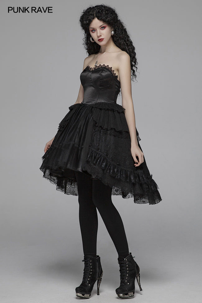 Lolita Sweetheart Neck Ruffles Irregular Lace Dress