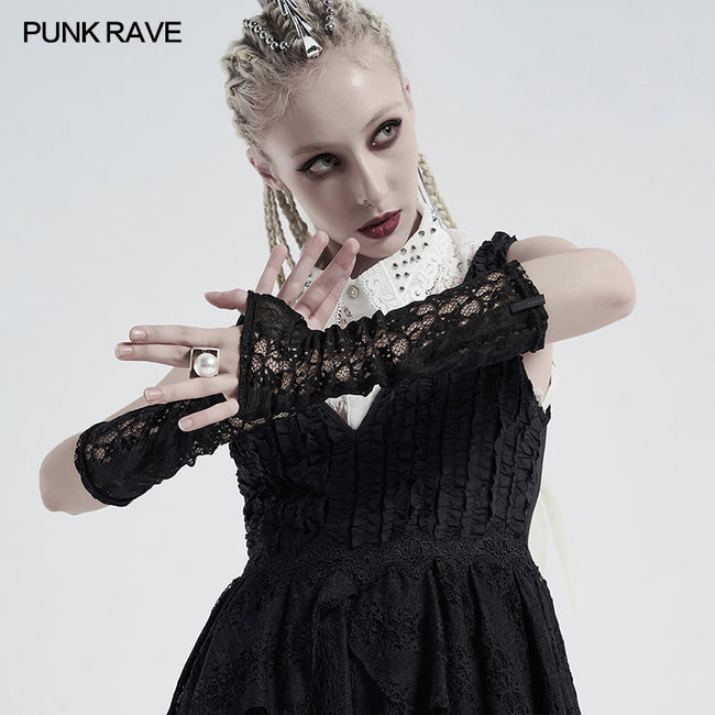 Gothic daily striped lace gloves