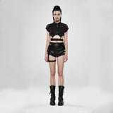 Dark Girl Hollow-out Metal Zipper Shirt