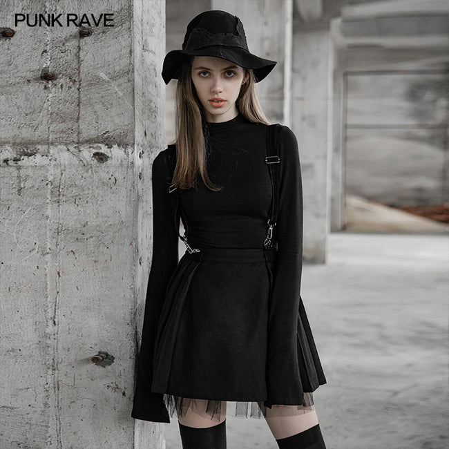 Dark Girl A pendulum Plaid Suspender Half Skirt