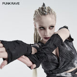 Punk snake print ripped gloves